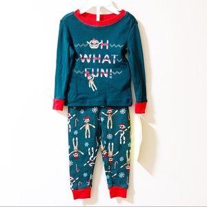 NWT Sock Monkey Pajama Shirt and Pants Set